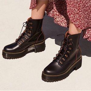 Dr. Martens Leona Vintage Black Leather Boots